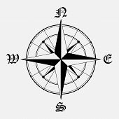 picture of wind instrument  - Black wind rose isolated on gray background - JPG