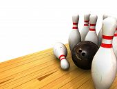 picture of bowling ball  - Ten Pin Bowling Scene of Bowling Ball and Pins on a Bowling Lane with a White Background - JPG