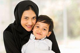 image of muslim  - portrait of pretty muslim woman with her son - JPG