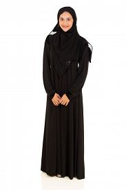 stock photo of muslim  - full length portrait of young muslim woman isolated on white - JPG