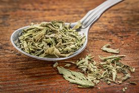 image of substitutes  - stevia dried leaves on a tablespoon against rustic woof  - JPG