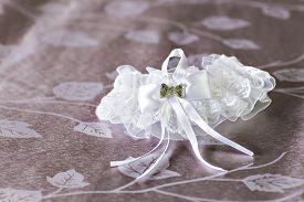 stock photo of garter-belt  - Beautiful wedding  bridal garter - JPG