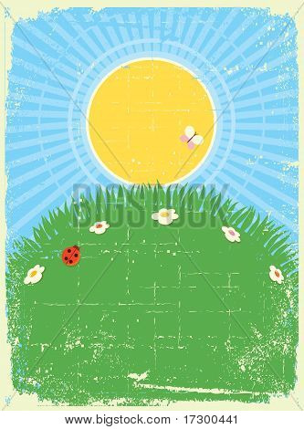Vintage Card Background With Summer Landscape.vector For Text