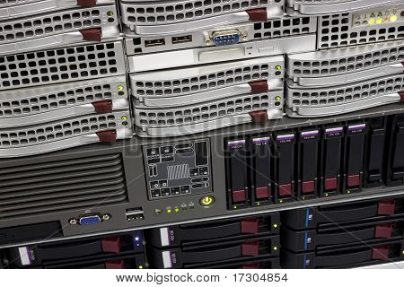 Data Storage Rack With Hard Drives
