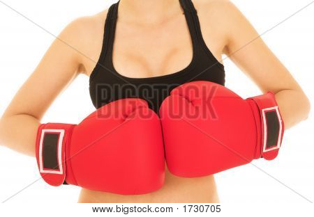 Sexy Caucasian Kickboxer Woman In Gym Clothes