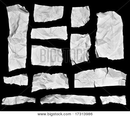 Wrinkled Paper Note Pieces
