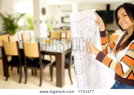 Girl Redecorating Home