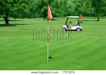 Golf Course And Vehicle