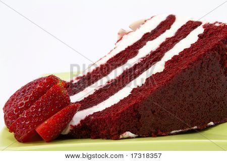 Red Velvet Cake Garnished With Strawberries