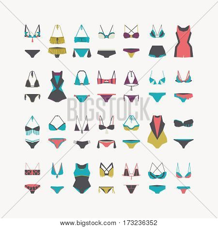 poster of Vector beautiful women swimwear - bikini swimsuit one-piece swimsuit waist and swimming trunks collection hand drawn in geometric style. Flat illustration set for fashion sport and recreation.