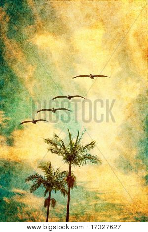 Retro Palms And Pelicans