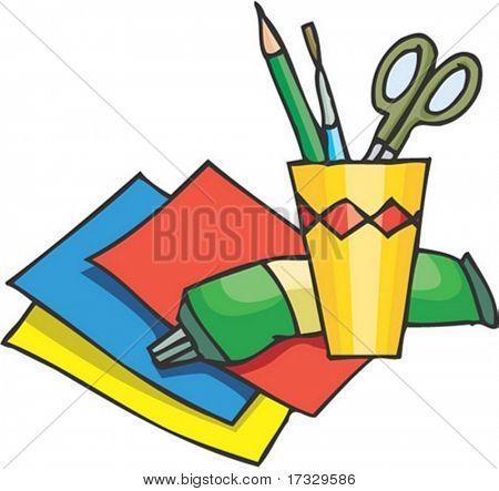 Tesoura e papel colorido