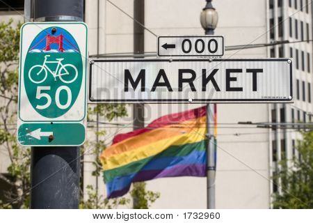 Market Street And Pride Flag