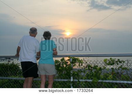 Old Couple Watching Sunset