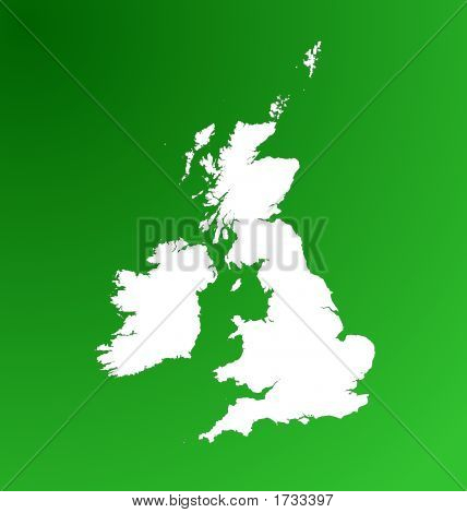 Detailed Map Of United Kingdom On Green Gradient Background