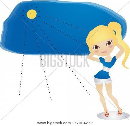 Постер, плакат: Мода красивая девушка, холст на подрамнике