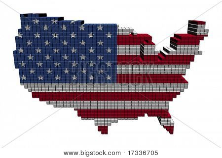 USA map flag made of containers illustration