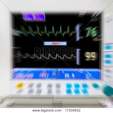 blurred medical monitor in ICU