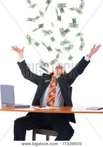 young businessman in office and falling money, isolated on white background