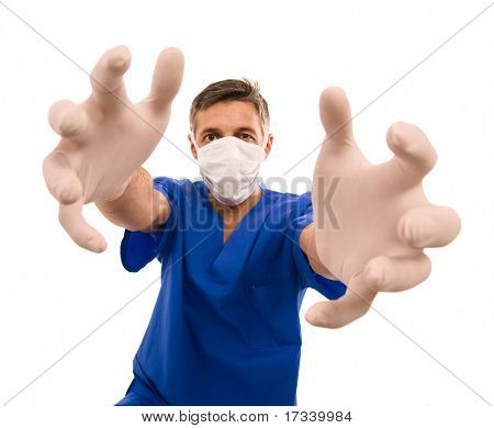 funny doctor with surgical mask and long hands