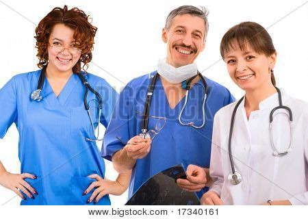 smiley medical team. three male and female doctors