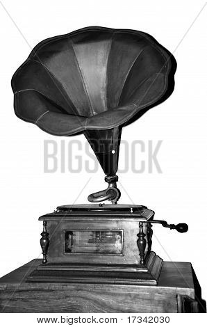 Phonograph, gramaphone or record player in black and white