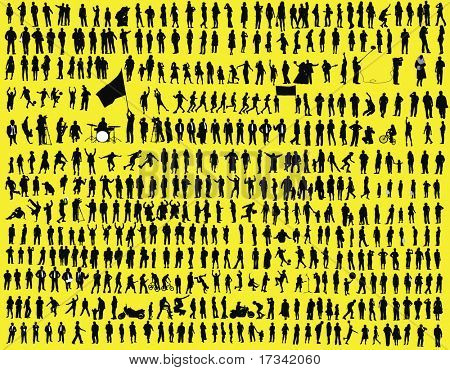hundreds of  silhouettes