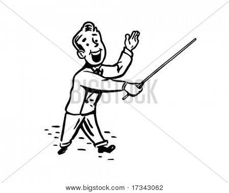 Man With Pointer Stick - Retro Clip Art