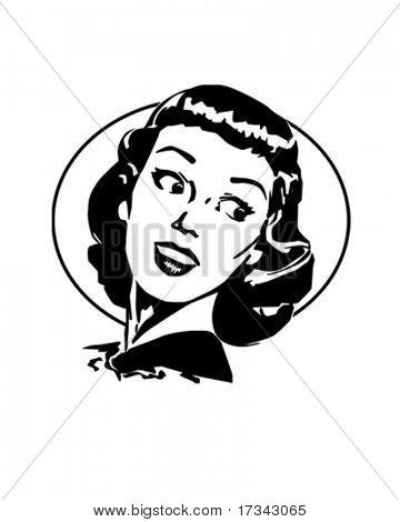 Doris - Gal de Retro bonito olhando por cima do seu ombro