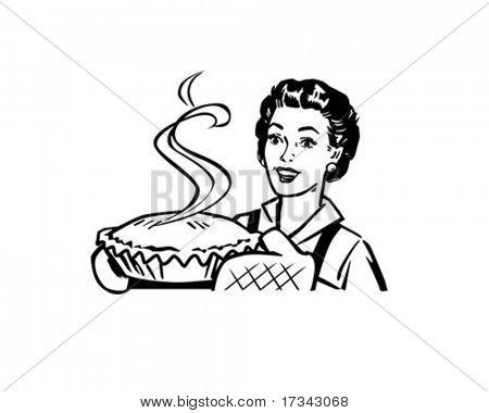 Frisch gebackene Kuchen - Hausfrau mit Dessert