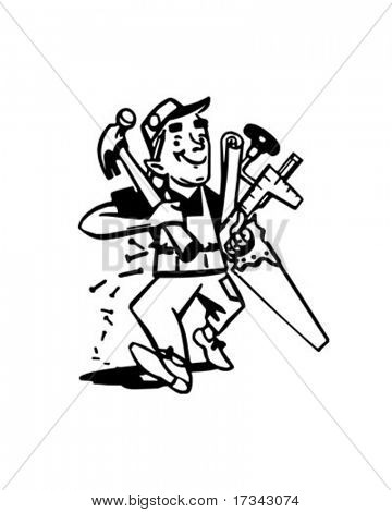 Carpenter With Tools - Retro Clip Art