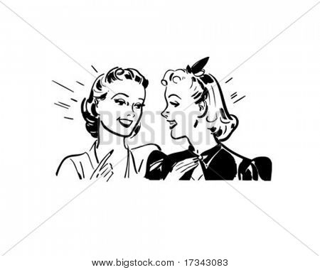 Girl Talk - Retro Clip Art