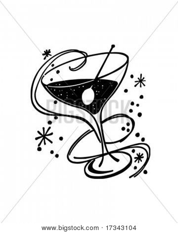 Cocktail Glass - Retro Clip Art