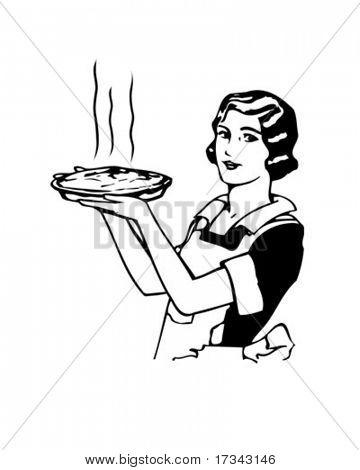 Torta de maçã da mãe - Retro Clip-Art