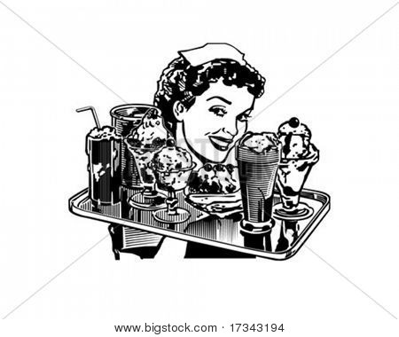 Retro Diner Waitress - Retro Clip Art