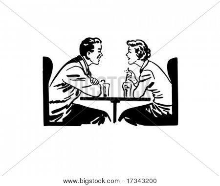 A Date Over Sodas - Retro Clip Art