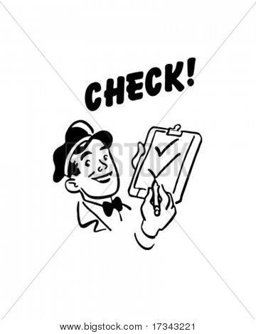 Check! - Service Station Mechanic - Retro Clip Art