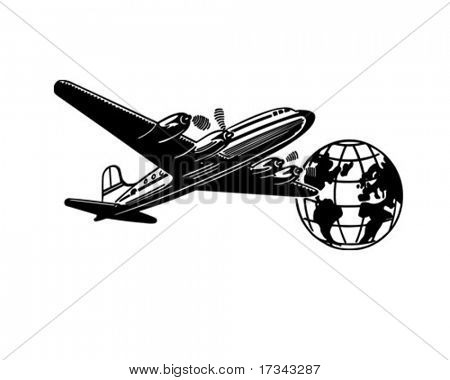 Airplane And Globe - Retro Clip Art