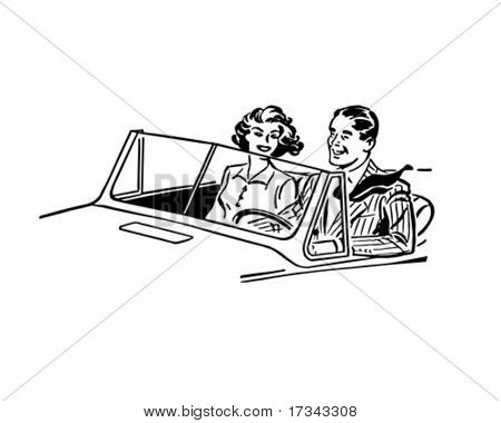 Cruisin' Couple - Retro Clip Art