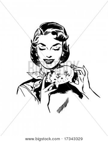 Woman With Piggy Bank - Retro Clip Art