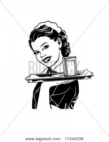 Waitress With Tray - Retro Clip Art