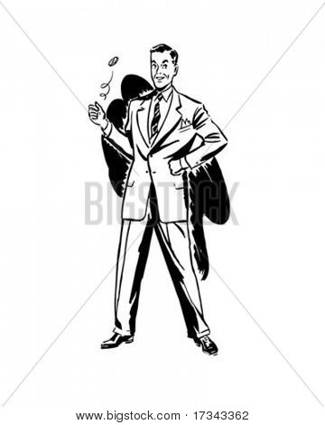 Notice To Careful Spenders - Man Flipping Coin - Retro Clip Art