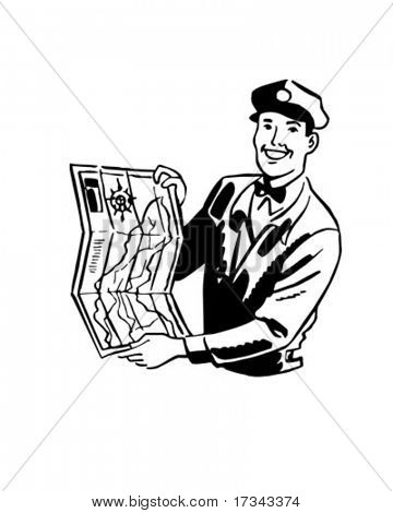 Serviceman With Map - Retro Clip Art