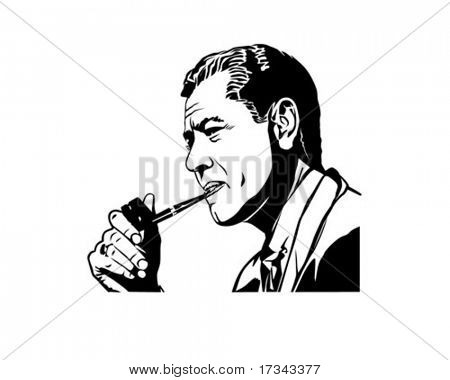 Mulling It Over - Fellow Smoking Pipe - Retro Clip Art