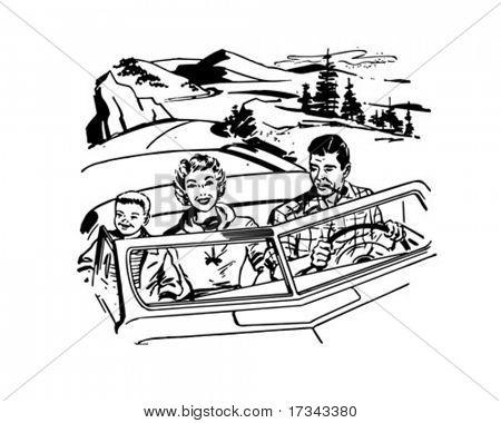 Family Road Trip - Retro Clip Art