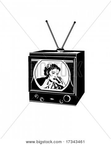 TV Lady - Retro Clip Art