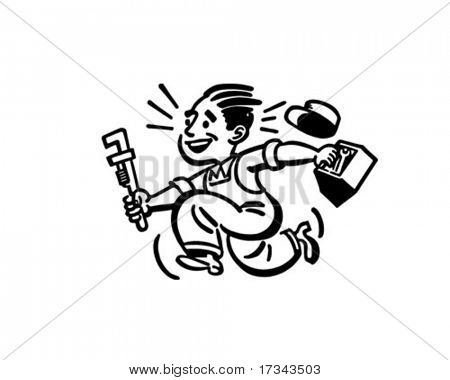 Happy Plumber - Retro Clip Art