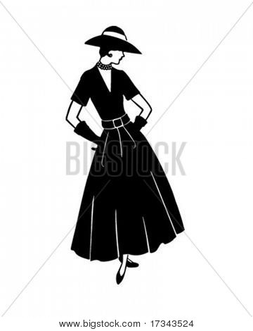 Fashionable Woman - Retro Clip Art