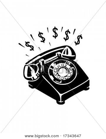 Geld telefoon - Retro illustraties