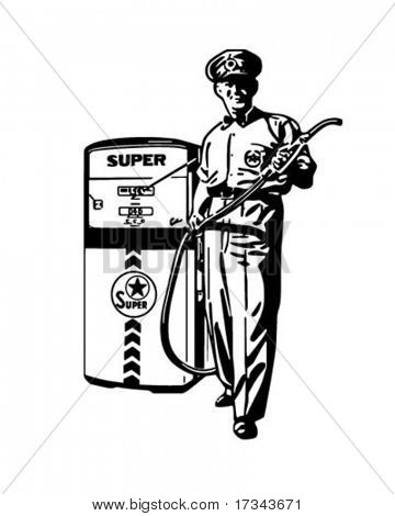Service Station Man - Retro Clip Art